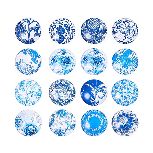 (Pandahall 1 Box(about 50pcs) 25mm Mixed Color Printed Half Round/Dome Glass Cabochons for Jewelry Making (Blue and White Floral) )