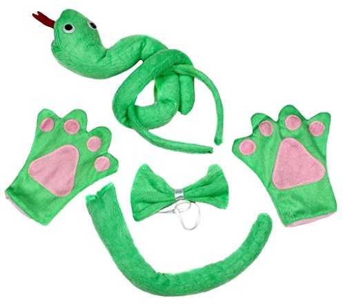 Petitebella 3D Headband Bowtie Tail Gloves Unisex Children 4pc Costume (3D Green Snake) - Kid Snake Girl