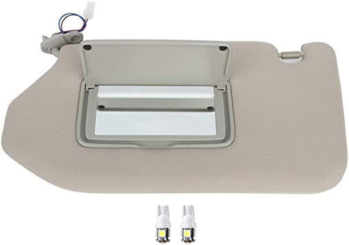 Dasbecan Left Driver Side Sun Visor Compatible with 2013-2018 Nissan Pathfinder 2014-2017 Infiniti QX60 JX35 Sunvisor with Mirror /& Lamp Replaces# 96401-9PB0A Tan