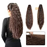 Kinky Straight Synthetic Long Yaki Ponytail Clip in Hair Extensions Ponytail Hairpiece Soft Silky for Women 24inch-Claw (2-33#-Dark Brown)