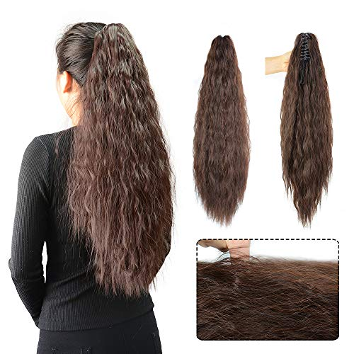 (Kinky Straight Synthetic Long Yaki Ponytail Clip in Hair Extensions Ponytail Hairpiece Soft Silky for Women 24inch-Claw (2-33#))