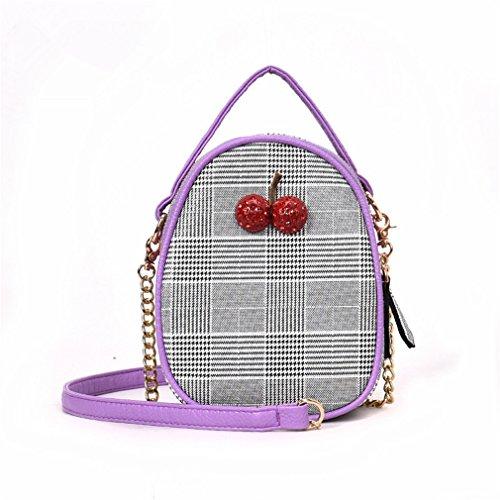 kaoling Bolsos Mini Bolsos Mujer Bolsos de Crossbody de la cereza para las mujeres Bolsos y bolsos del enrejado del diamante Brown Purple