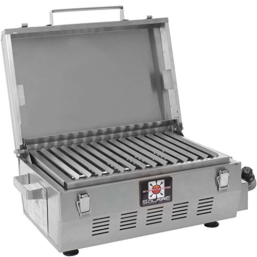 Solaire SOL-EV17A Everywhere Portable Infrared Propane Gas Grill With FREE Custom Cleaning Brush, Stainless Steel