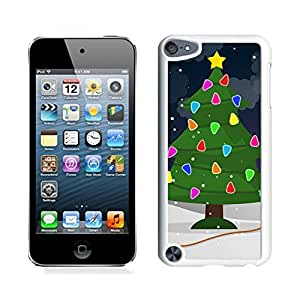 Ipod 5 Cases,Christmas Colorful Tree White Hard Shell Plastic Apple Ipod Touch 5th Cases