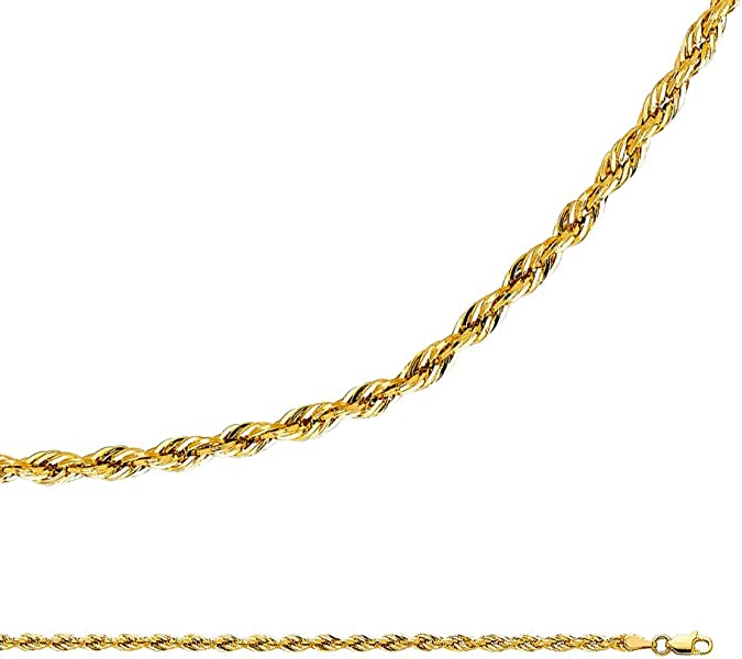 41755639ea61b6 Rope Chain Solid 14k Yellow Gold Necklace Silky Hollow Twisted Diamond Cut  Light 3 mm 18