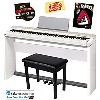 Casio Privia PX-160 Digital Piano - Champagne Gold Bundle with CS-67 Stand, SP-33 Pedal, Furniture Bench, Instructional Book, Austin Bazaar Instructional ...