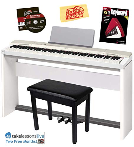 Casio Privia PX-160 Digital Piano – Champagne Gold Bundle with CS-67 Stand, SP-33 Pedal, Furniture Bench, Instructional Book, Austin Bazaar Instructional DVD, and Polishing Cloth