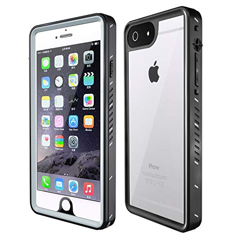 MixMart Waterproof Case for iPhone 6 Plus/6s Plus Full Body Protective Clear Case with Screen Protector IP68 Certified Shockproof, Black (Best Waterproof Iphone 6 Plus Case)