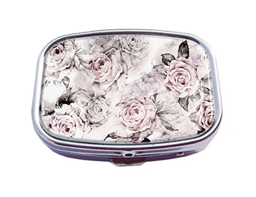 - Top A Floral Custom Personalized Square Pill box Decorative Box Vitamin Container Pocket Or Wallet (Floral-7)