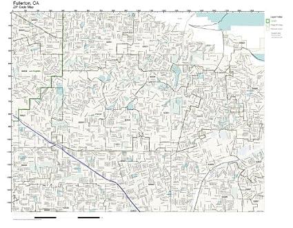 Amazon com: ZIP Code Wall Map of Fullerton, CA ZIP Code Map