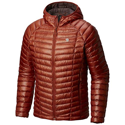 Mountain Hardwear Mens Ghost Whisperer Insulated Down Water Repellent Jacket with Hood - Dark Copper - S