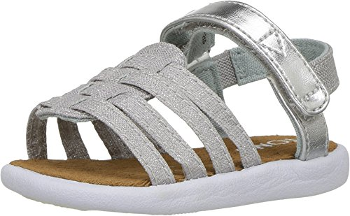 Toms Girls 10007749 HUARACHE Sandal, Silver, 5 M US (Silver Toms For Toddlers)