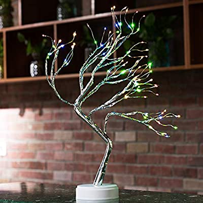 Qunlight Upgraded Copper Wire Tree Branch Lights,USB&Battery Powered,20Inch 36 Warm White LED with 36 White Pearls,Table Lamp for Home Decoration, Wedding Sign,Living Room,Bedroom Or Bar(Warm White)
