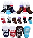 6 Pairs Toddler Baby Boys Non Skid Pre Walking Ankle Cotton Baptism Socks Newborn Kids Sneakers Indoor Slipper Shoe Socks for 12-24 Months