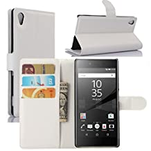 Fettion Sony Xperia Z5 Premium Case, Premium Leather Wallet Case Cover with Stand Card Holder for Sony Xperia Z5 Premium Phone (2015) (Wallet - White)