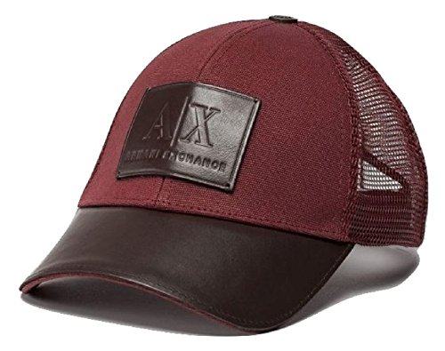 Armani Exchange AIX Men's Leather Logo Patch Mesh Trucker Hat in Brick - Aix Armani