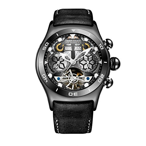 (Reef Tiger Sport Watches for Mens Black Skeleton Dial Steel Tourbillon Watch RGA703 (NRGA703-BBB))
