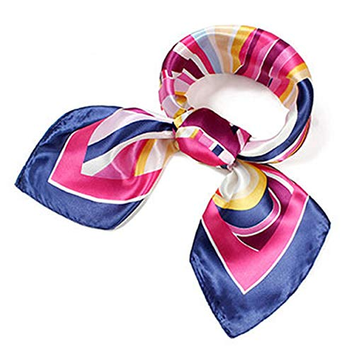 Women's Silk Satin Small Square Scarf Neck Head Hair Ladies Scarf Fashion Scarves Mixed Pattern Print Wraps 60x60cm (Nine-color wave)