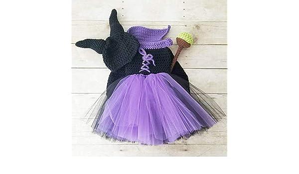 944b12b0969 Amazon.com  Crochet Baby Maleficent Costume Dress Tutu Hat Beanie Staff Set  Infant Newborn Baby Toddler Child Handmade Baby Shower Gift Present   Handmade