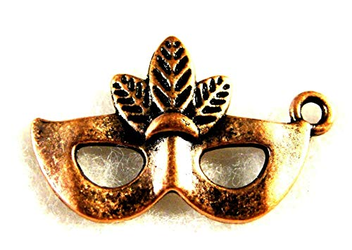 (20Pcs. Tibetan Antique Copper Face MASK w/Feathers Halloween Charms)