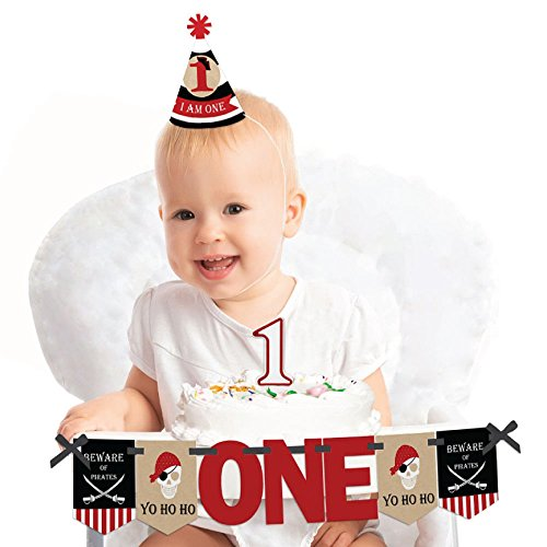 Beware of Pirates 1st Birthday - First Birthday Boy or Girl Smash Cake Decorating Kit - High Chair Decorations ()