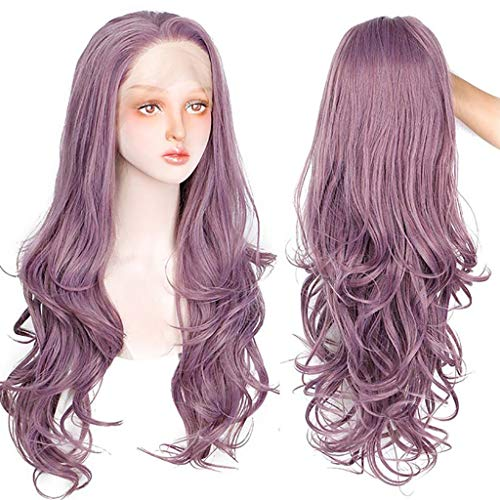 Women's Long Wave Wigs, Ladies Purple Heat Synthetic Hair Curly Wig with Baby Hair Natural Looking Cosplay (Purple) ()