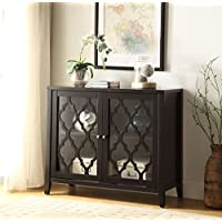 Black Finish Two Door Wooden Console Sofa Table for Entryway with Shelves