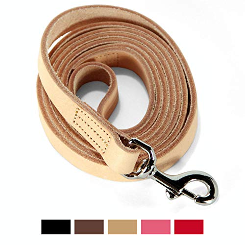 (Logical Leather 6 Foot Dog Leash - Best for Training - Water Resistant Heavy Full Grain Leather Lead - Tan)