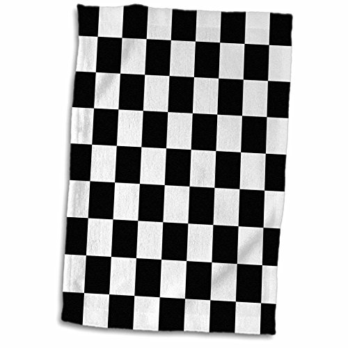 3D Rose Black and White Pattern-Checkered Checked Squares Chess Checkerboard Car Race Flag Towel, 15
