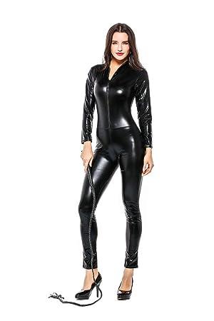 GYH Sexy Lencería Mujeres Cuero Bodysuit Latex Catsuit ...