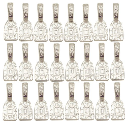 (Find-Its - Findings For Fused 24-Piece Floral Print Bails, Silver Plated)
