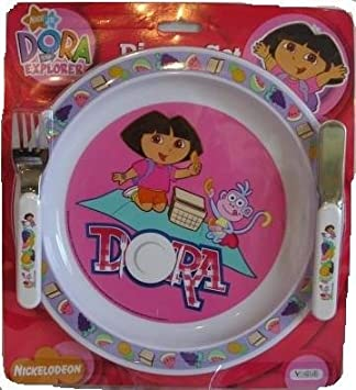 Dora the Explorer Dinner Set Inc. Plate Knife and Fork & Dora the Explorer Dinner Set Inc. Plate Knife and Fork: Amazon.co ...