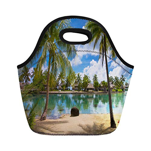 (Semtomn Neoprene Lunch Tote Bag Tropical Bungalows on Lagoon Palm Trees Moorea Tahiti French Reusable Cooler Bags Insulated Thermal Picnic Handbag for Travel,School,Outdoors,Work)