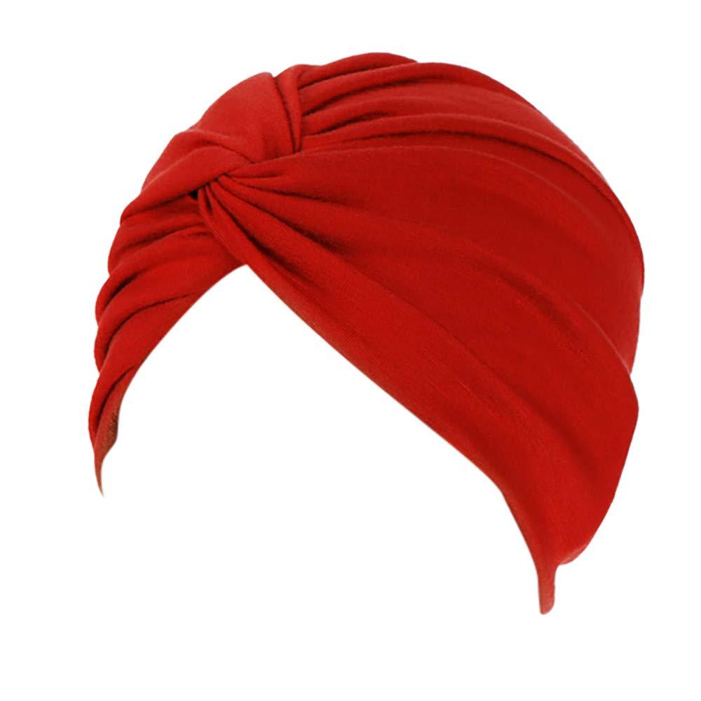 Lazzboy Frauen-Indien-Hut moslemischer R/üsche Beanie-Turban-Wickelkappen-Winter-Hut Damen Turban Kopfbedeckung Fashion in verschiedenen Farben