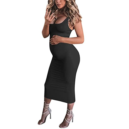 aac9cdeaa Winsummer Sexy Maternity Tank Bodycon Dress Summer Sleeveless Mama Maxi  Dress Pregnancy Baby Shower Dress Black