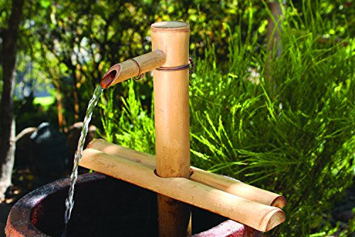Bamboo Accents Water Fountain Spout, Complete Kit includes Submersible Pump for Easy Install, Handmade Indoor/Outdoor Natural Split-Free Bamboo (Adjustable Height Medium - 12 Inches)