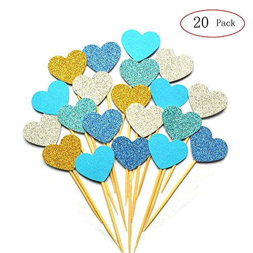 iMagitek 20pcs Blue Theme Colorful Glitter Hearts Cupcake Toppers Food Picks Cake Decorations for Baby Boys Birthday Party, Baby Boys Baby Shower, Bridal Shower, Wedding, Cocktail Forks Party Birthday Boy Cupcake