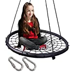 """LaTazas Extra Large 40"""" Diameter Kids Web Net Swing Height Adjustable, Easy Installation Tree Swing Set for Playground Indoor and Outdoor Including 2 Carabiners Free"""