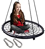 LaTazas Extra Large 40'' Diameter Kids Web Net Swing Height Adjustable, Easy Installation Tree Swing Set for Playground Indoor and Outdoor(Including 2 Carabiners Free)