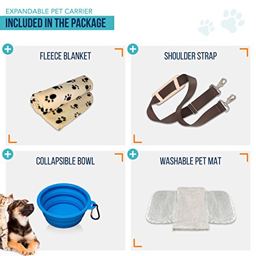 Petyella Cat Carrier Pet Carrier for Small Dogs and Cats Expandable Soft Sided Crate for Pet - Airline Approved Medium Kennel Travel Bag - 2.8 lbs Dog Carriers with Bonus Blanket and Bowl,Dark Brown by Petyella (Image #2)