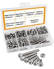 304 Stainless Steel Hex Bolt Set Outer Hexagonal Hex Bolts and Nuts Hex Head Machine Screws Bolts