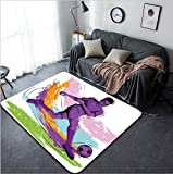 Vanfan Design Home Decorative Concept of sportsman playing Soccer Vector illustration Modern Non-Slip Doormats Carpet for Living Dining Room Bedroom Hallway Office Easy Clean Footcloth