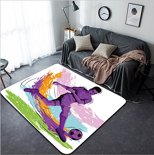 Vanfan Design Home Decorative Concept of sportsman playing Soccer Vector illustration Modern Non-Slip Doormats Carpet for Living Dining Room Bedroom Hallway Office Easy Clean Footcloth by vanfan