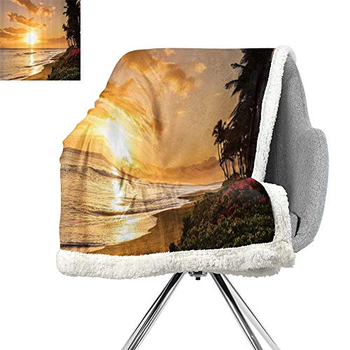 ScottDecor Hawaiian Decorations Cozy Flannel Blanket,Warm Tropical Sunset On Sands of Kaanapali Beach in Maui Hawaii Destination for Travel,Bed Cover W59xL31.5 Inch