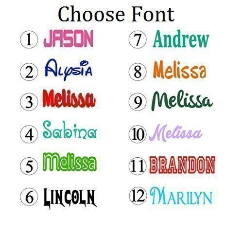 Personalized Name Decal Sticker - Gloss Vinyl for Yeti Cups, Windows, Laptops - Choose Font, Color, ()
