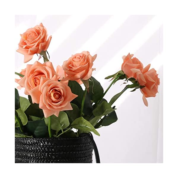 N YONGNUO 12pcs Latex Moisturizing Roses of Real Touch Natural Artificial Flowers Open Orange Roses Realistic Color for Wedding/Home Decor or As a Gift to Wife/Mother/Friend(19 Inch-Orange)