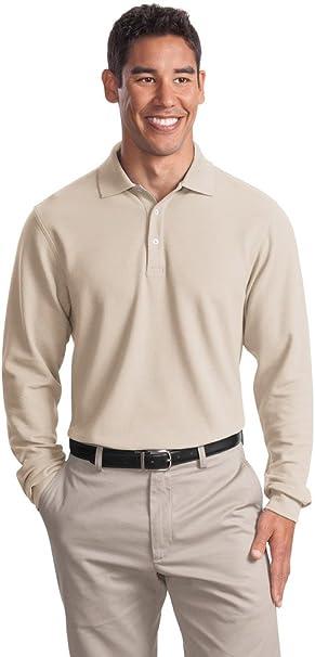 Big Mens Long Sleeve EZCotton Pique Sport Shirt