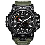 Men's Military Sport Digital Waterproof Watch Dual Electronic Quartz Movement Green Band with Back Light