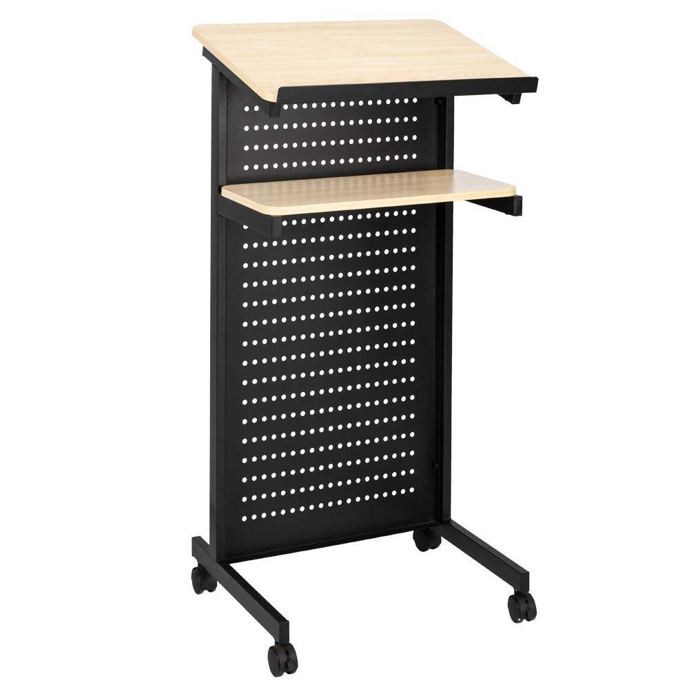 Bonnlo Mobile Wheeled Lectern Standing Podium, Portable Lecture Speech Teach Platform for Classroom Church or Ceremony, Multi-Function Reading or Laptop Desk, Table w/Tilted Top Board & Edge Stopper by Bonnlo