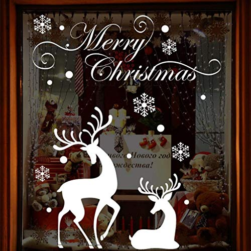 (Potelin Premium Quality Christmas Wall Sticker Decal White Snowflake Reindeer Home Window Decals )